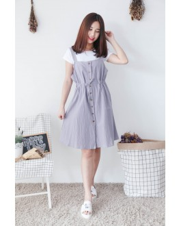 Korea Basic Top + Sleeveless Button Long Dress [Set] (Grey)