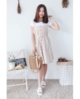 Korea Basic Top + Sleeveless Button Long Dress [Set] (Khaki)
