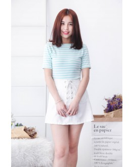 Korea Lace Up Top (Tiffany Blue)