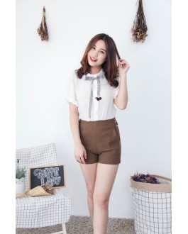 Korea Metal Ring Elastic High Waist Short Pant  (Khaki)