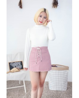 Korea Lace Up & Pocket Denim A Line Skirt (Nude Pink)