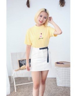 Korea Flamingo High Neck Tee (Yellow)