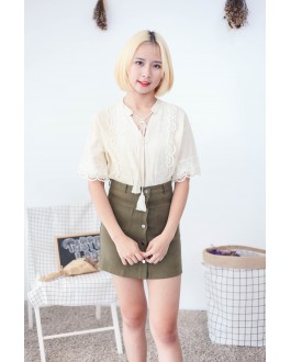 Korea Bohemian Lace Trim Short Sleeve Blouse (Beige)