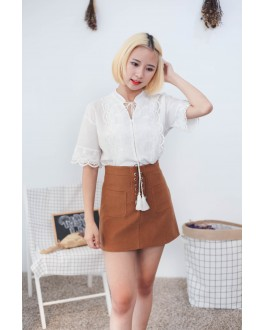 Korea Bohemian Lace Trim Short Sleeve Blouse (White)