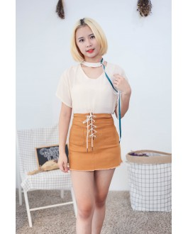 Korea Chocker Style Short Sleeve Blouse (Beige)