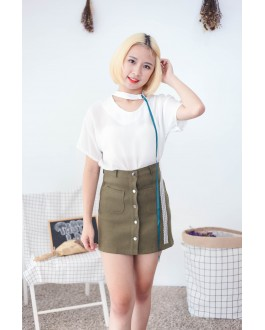 Korea Chocker Style Short Sleeve Blouse (White)