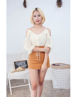 Korea Cross Strap V Neck Cold Shoulder Top (Beige)