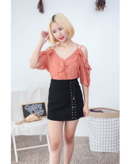 Korea Cross Strap V Neck Cold Shoulder Top (Brick)