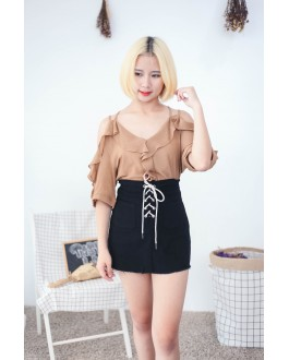 Korea Cross Strap V Neck Cold Shoulder Top (Brown)