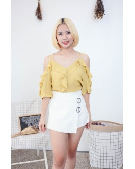 Korea Cross Strap V Neck Cold Shoulder Top (Mustard)