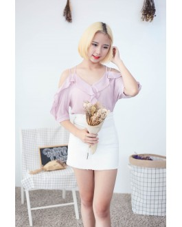 Korea Cross Strap V Neck Cold Shoulder Top (Nude Pink)