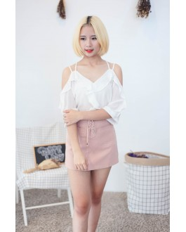 Korea Cross Strap V Neck Cold Shoulder Top (White)