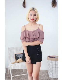 Korea Scallop Cold Shoulder Top (Brown)