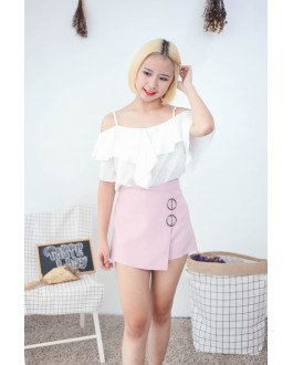 Korea Scallop Cold Shoulder Top (White)