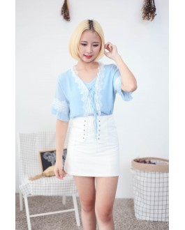Korea Lace Trim Short Sleeve Chiffon Top (Baby Blue)