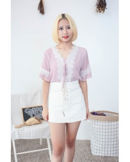 Korea Lace Trim Short Sleeve Chiffon Top (Nude Pink)