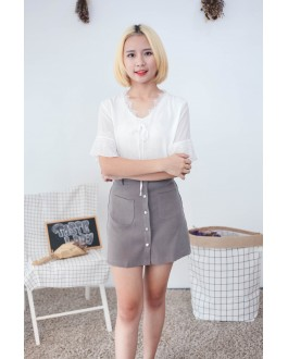 Korea Lace Trim Short Sleeve Chiffon Top (White)