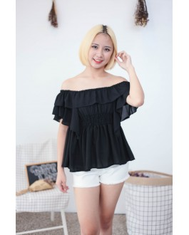 Korea Chiffon Off Shoulder Top (Black)