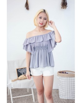 Korea Chiffon Off Shoulder Top (Grey Blue)