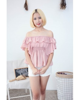 Korea Chiffon Off Shoulder Top (Nude Pink)