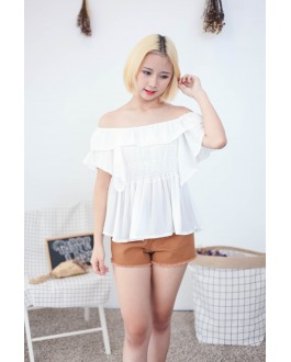 Korea Chiffon Off Shoulder Top (White)