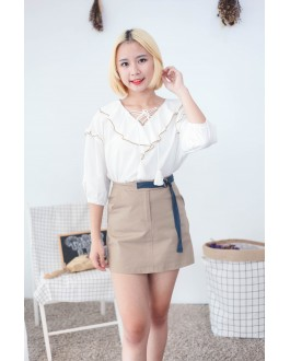 Korea Lace Up Short Sleeve Blouse (White)