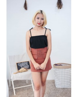 Korea Two Ways Wear Ribbon Strap Sleeveless Top & Rubber Skirt (Black)