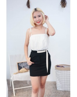 Korea Two Ways Wear Ribbon Strap Sleeveless Top & Rubber Skirt (White)
