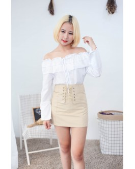 Korea Ribbon Off Shoulder Button Blouse (White)