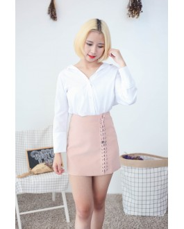 Korea Cold Shoulder Long Sleeve Blouse (White)