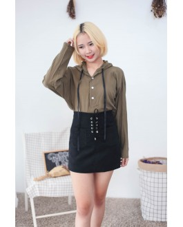 Korea Button Hoodie Long Sleeve Blouse (Army Green)