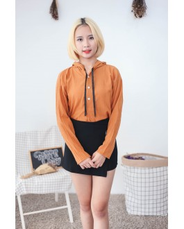 Korea Button Hoodie Long Sleeve Blouse (Brown)