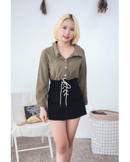 Korea Two Ways Wear Button & Lace Up Long Sleeve Blouse (Army Green)