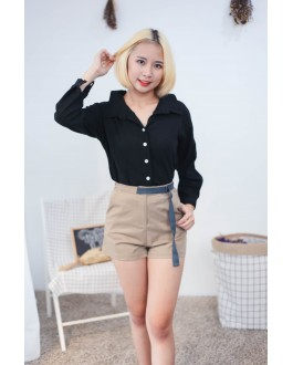 Korea Two Ways Wear Button & Lace Up Long Sleeve Blouse (Black)