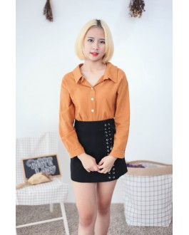 Korea Two Ways Wear Button & Lace Up Long Sleeve Blouse (Brown)