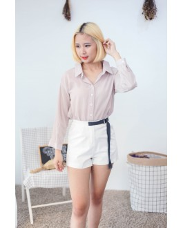 Korea Two Ways Wear Button & Lace Up Long Sleeve Blouse (Khaki)