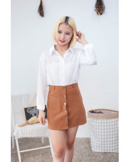 Korea Two Ways Wear Button & Lace Up Long Sleeve Blouse (White)