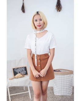 Korea Chic Style Chocker Top (White)