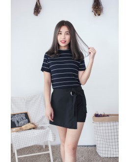 [Hot Selling] Metal Ring With Ribbon Skort (Black)