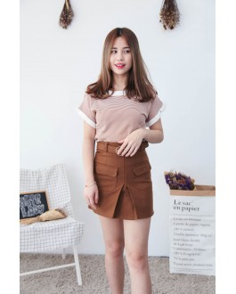 Korea Stripe Fluted Sleeve Knit Top (Brown)