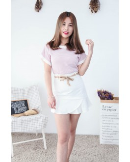 Korea Stripe Fluted Sleeve Knit Top (Pink)
