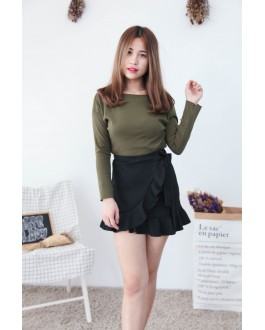 Korea Basic Wide Shoulder Top (Army Green)