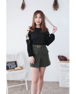 Korea Hollow Style Cold Shoulder Top (Black)