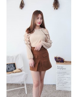 Korea Hollow Style Cold Shoulder Top (Brown)