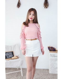 Korea Hollow Style Cold Shoulder Top (Pink)