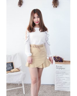 Korea Hollow Style Cold Shoulder Top (White)