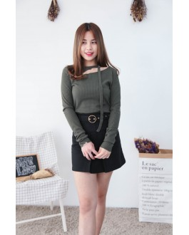Korea Chocker Style Long Sleeve Knit Top (Army Green)