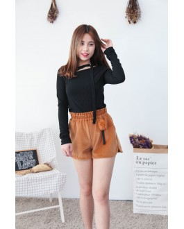 Korea Chocker Style Long Sleeve Knit Top (Black)