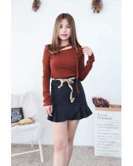Korea Chocker Style Long Sleeve Knit Top (Brown)
