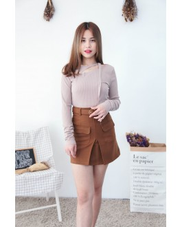 Korea Chocker Style Long Sleeve Knit Top (Khaki)
